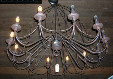 Provincial-style Wrought Iron Twelve-Light Chandelier