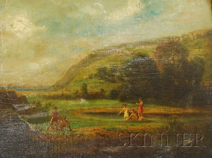 Lot of Three Works:      Continental School, 19th/20th Century, Bathers in a Stream