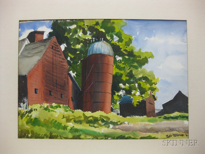 Robert J. Freiman (American, 1917-1991)      Two-sided Watercolor: Red Barn Near Hunn's Lake