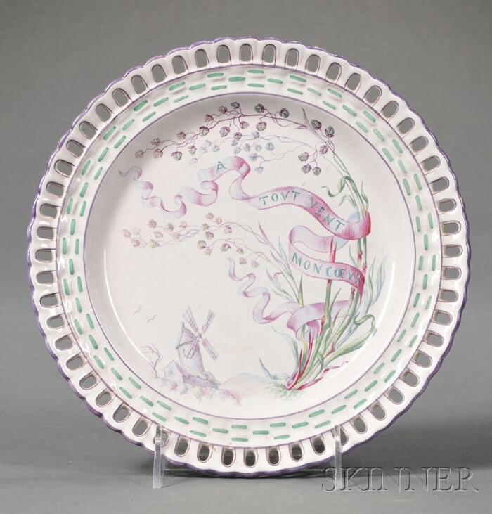 French Faience Enamel Decorated Cabinet Plate