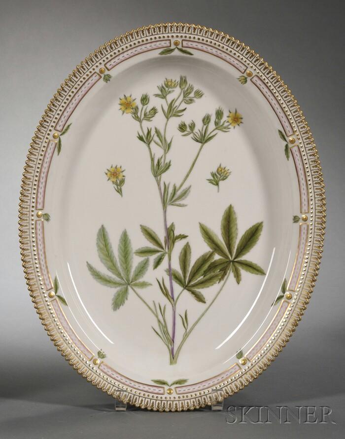 "Royal Copenhagen Porcelain ""Flora Danica"" Pattern Serving Platter"