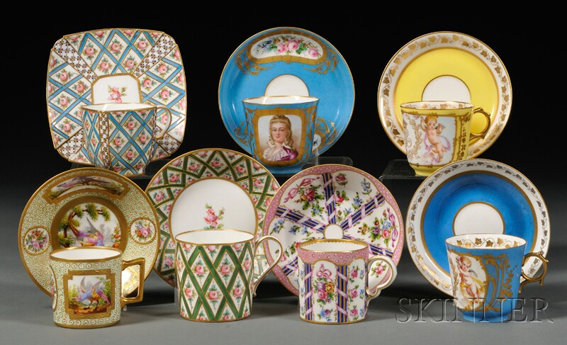 Eleven Assorted Sevres Cups and Saucers
