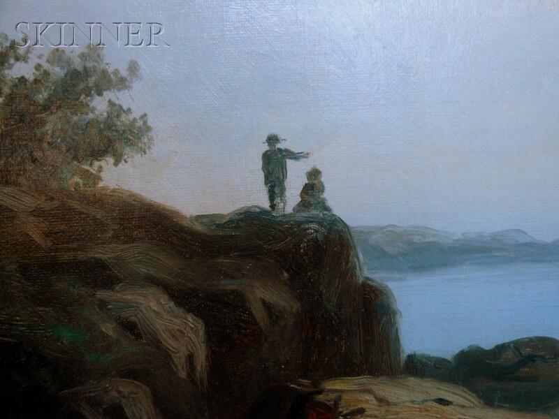 John Joseph Enneking (American, 1841-1916)      Coastal View with Figures Left