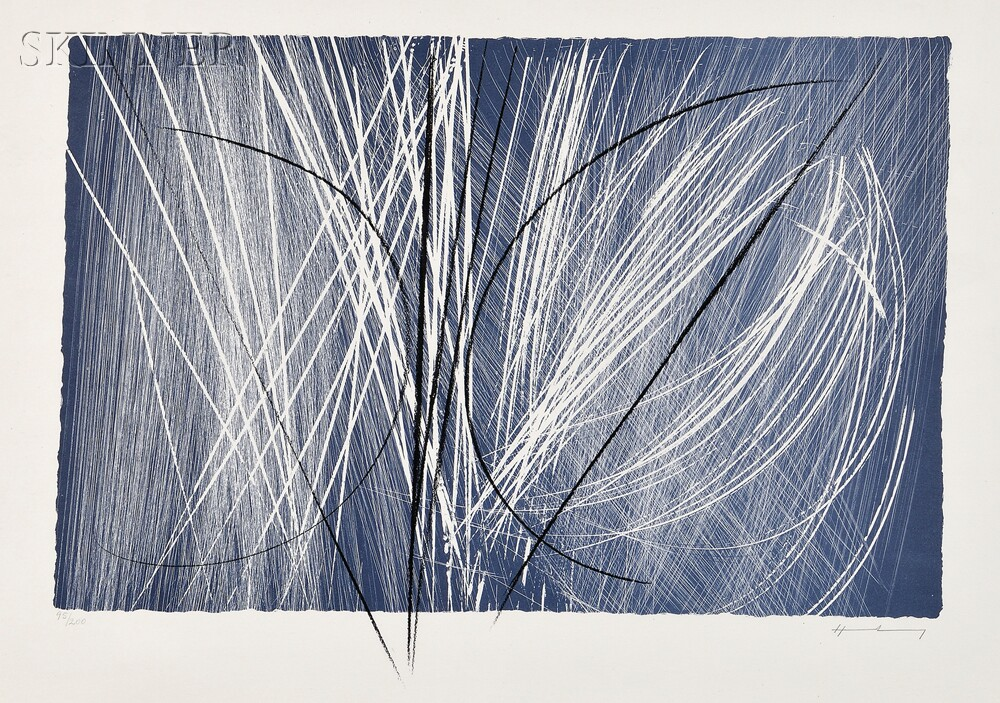 Hans Hartung (German, 1904-1989)      Untitled (Blue and Black)