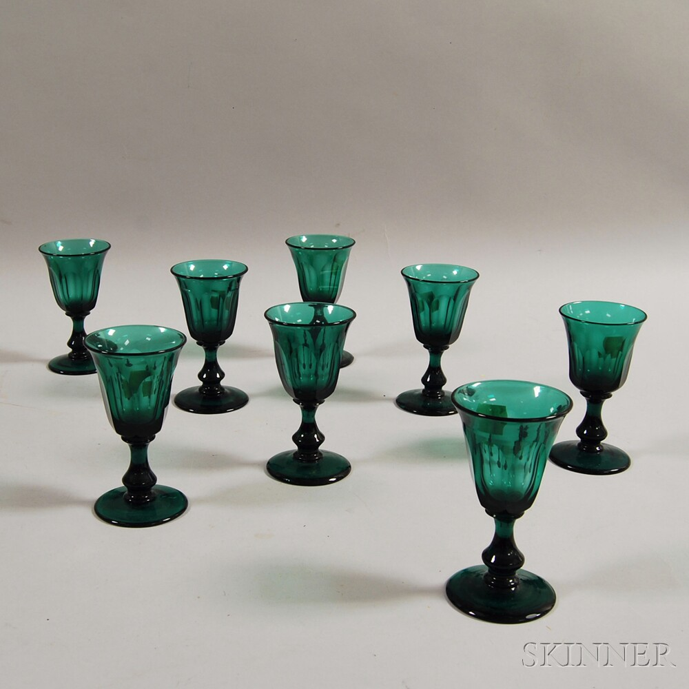 Set of Eight Emerald Wineglasses