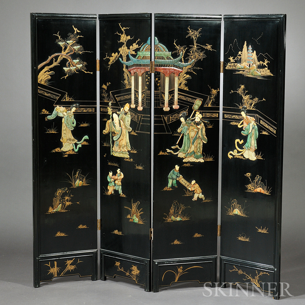 Four-panel Lacquer Floor Screen