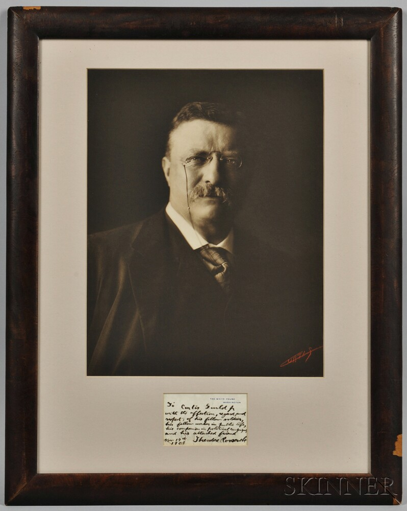 Roosevelt, Theodore (1858-1919) Photographic Portrait by Edward Sheriff Curtis (1868-1952) with Autograph Note Signed, 17 November 1908