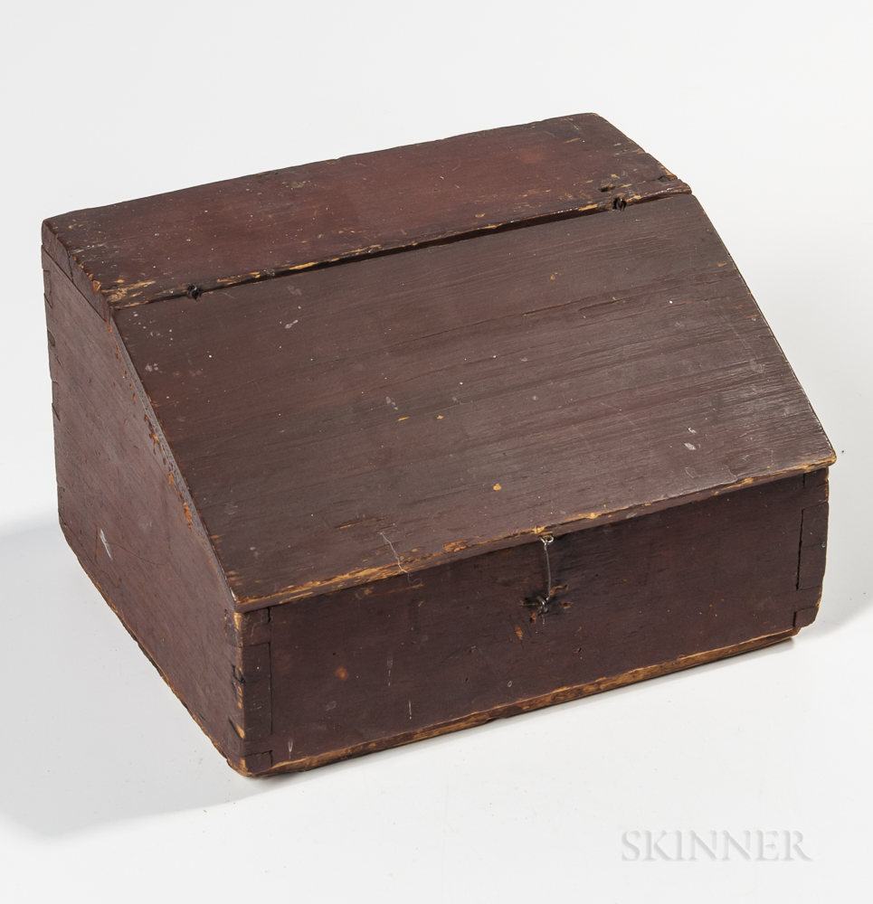 Miniature Red-painted Pine Slant-lid Desk Box
