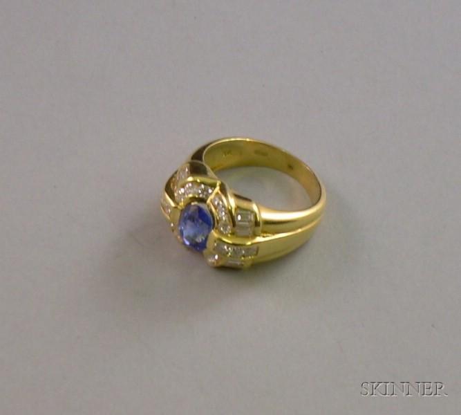 18kt Gold, Tanzanite, and Diamond Ring