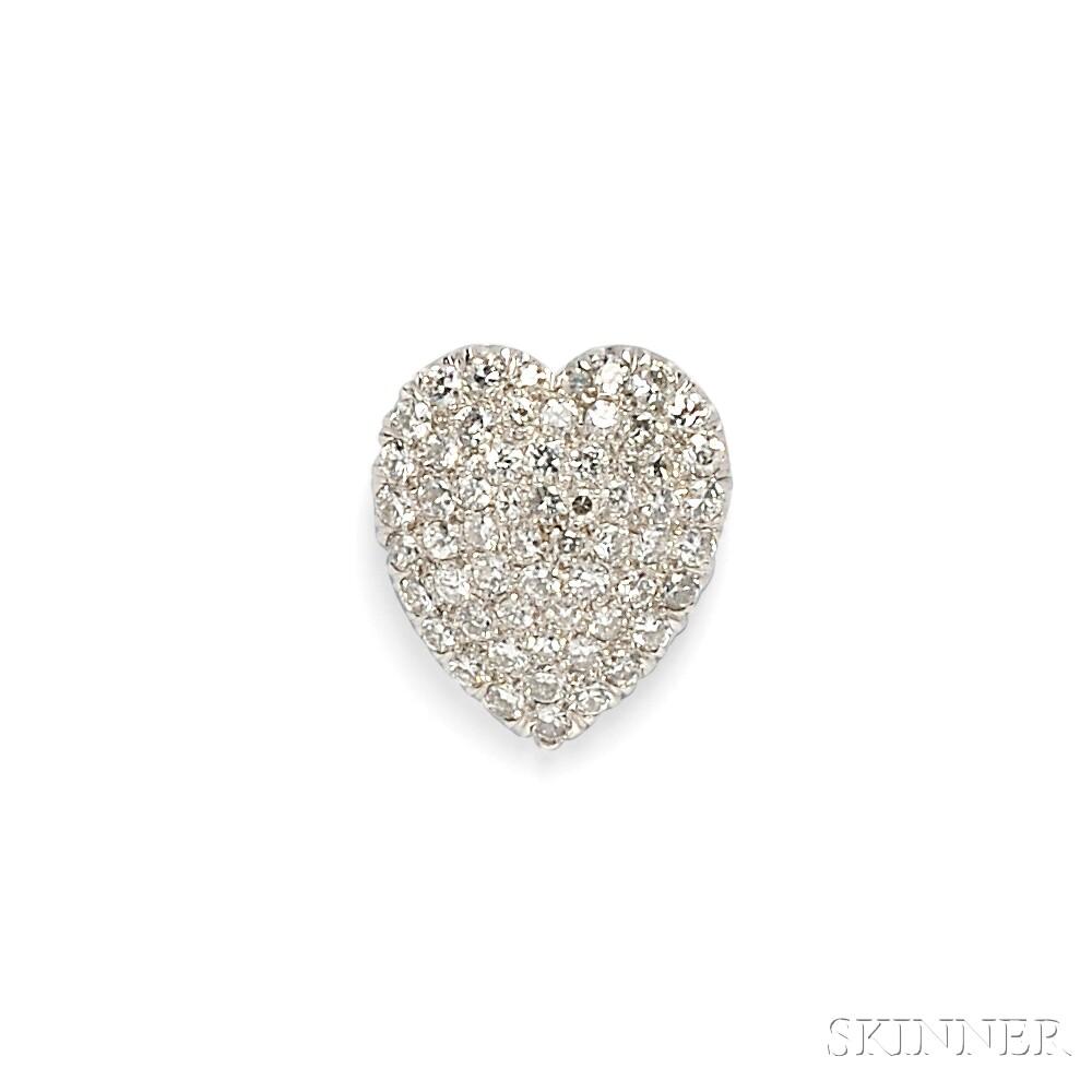 Platinum and Diamond Heart Pendant/Brooch