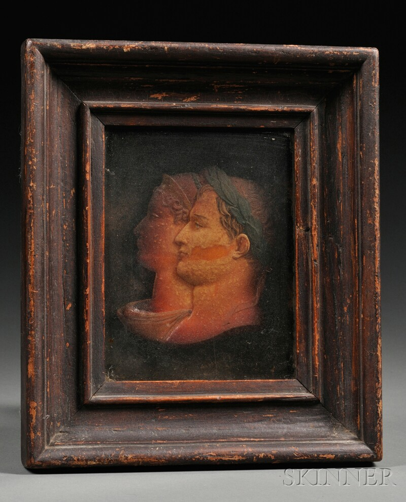 Framed Wax Double Portrait Bust of Napoleon and Josephine