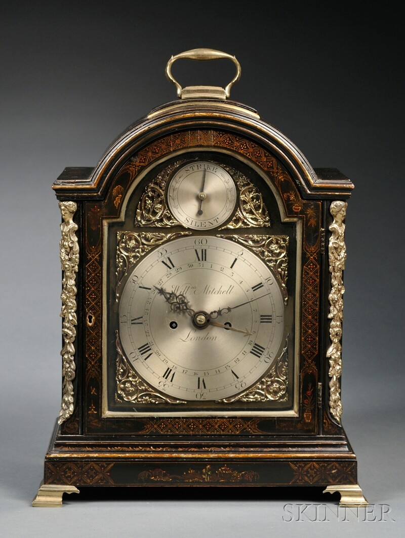 George III Japanned and Brass-mounted Mantel Clock