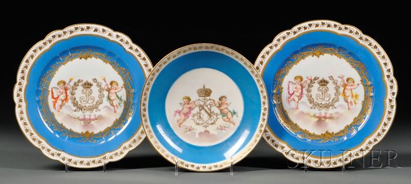 Twelve Pieces of Sevres Chateau des Tuileries   Pattern Porcelain