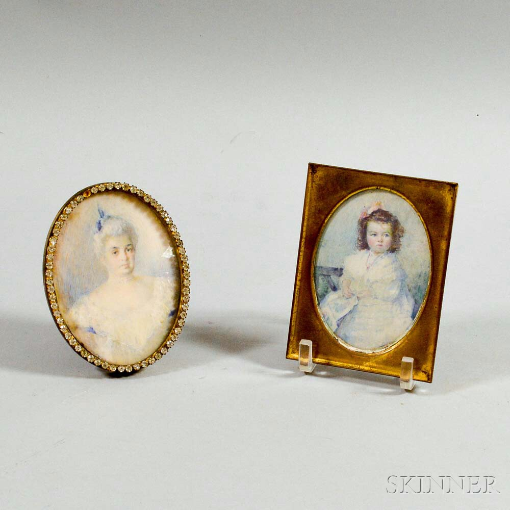 Two Framed Portrait Miniatures of a Woman and Child