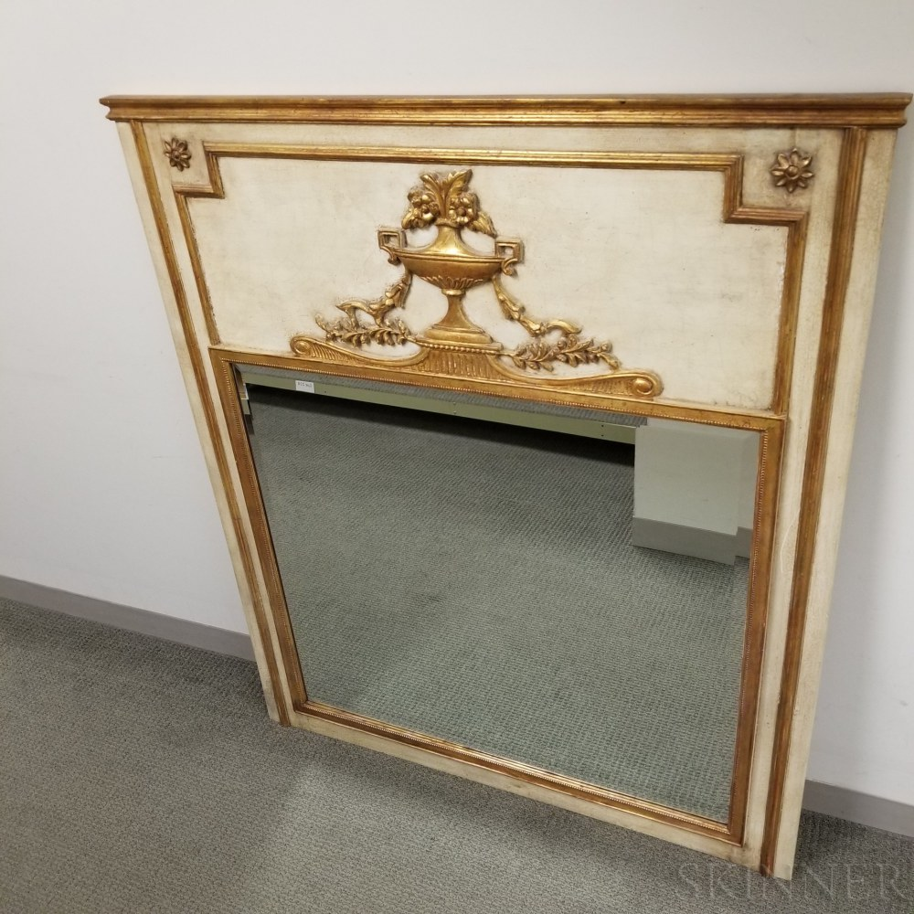 Large Neoclassical-style Gilt and Painted Overmantel Mirror
