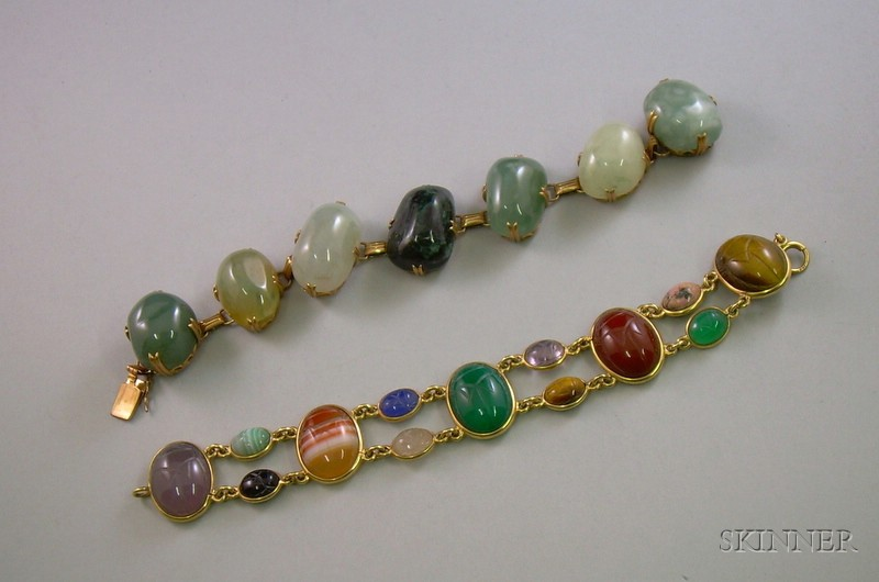 14kt Gold Scarab and a 14kt Gold Green Hardstone Bracelet