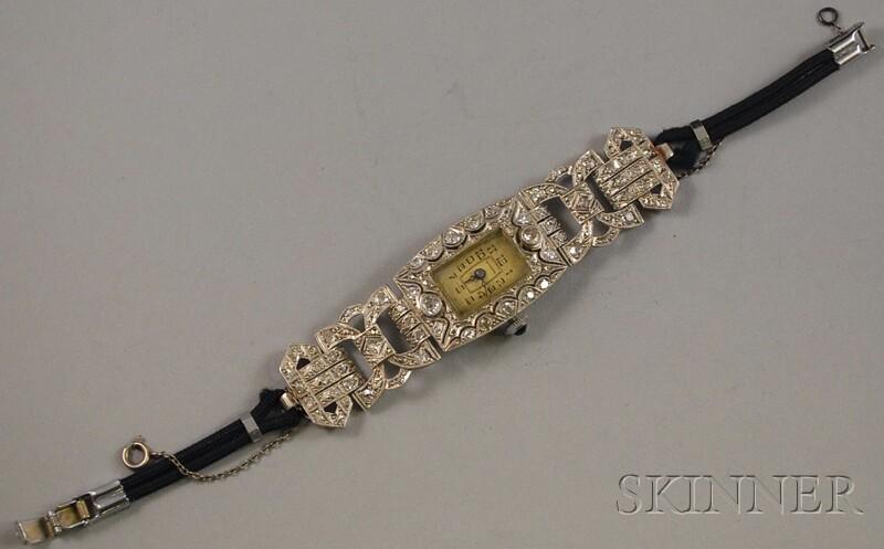 Art Deco Platinum and Diamond Invicta Wristwatch