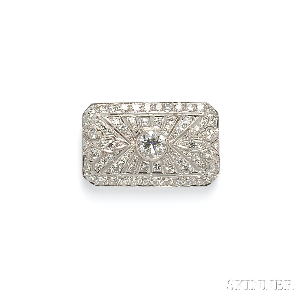 Art Deco Platinum and Diamond Plaque Brooch