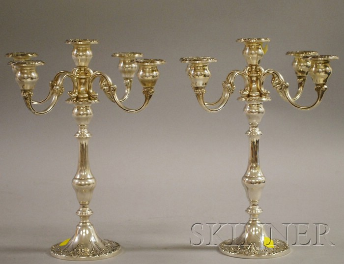 Pair of Gorham Sterling Five-light Convertible Candelabra