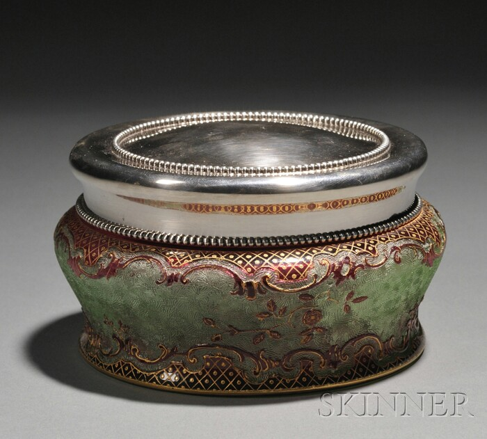 Silver Covered Glass Jar