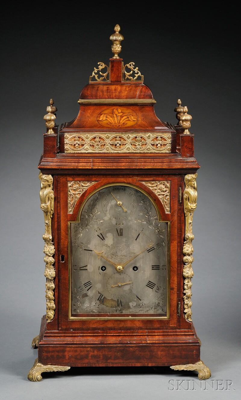 George III Mahogany Veneered and Brass-mounted Mantel Clock