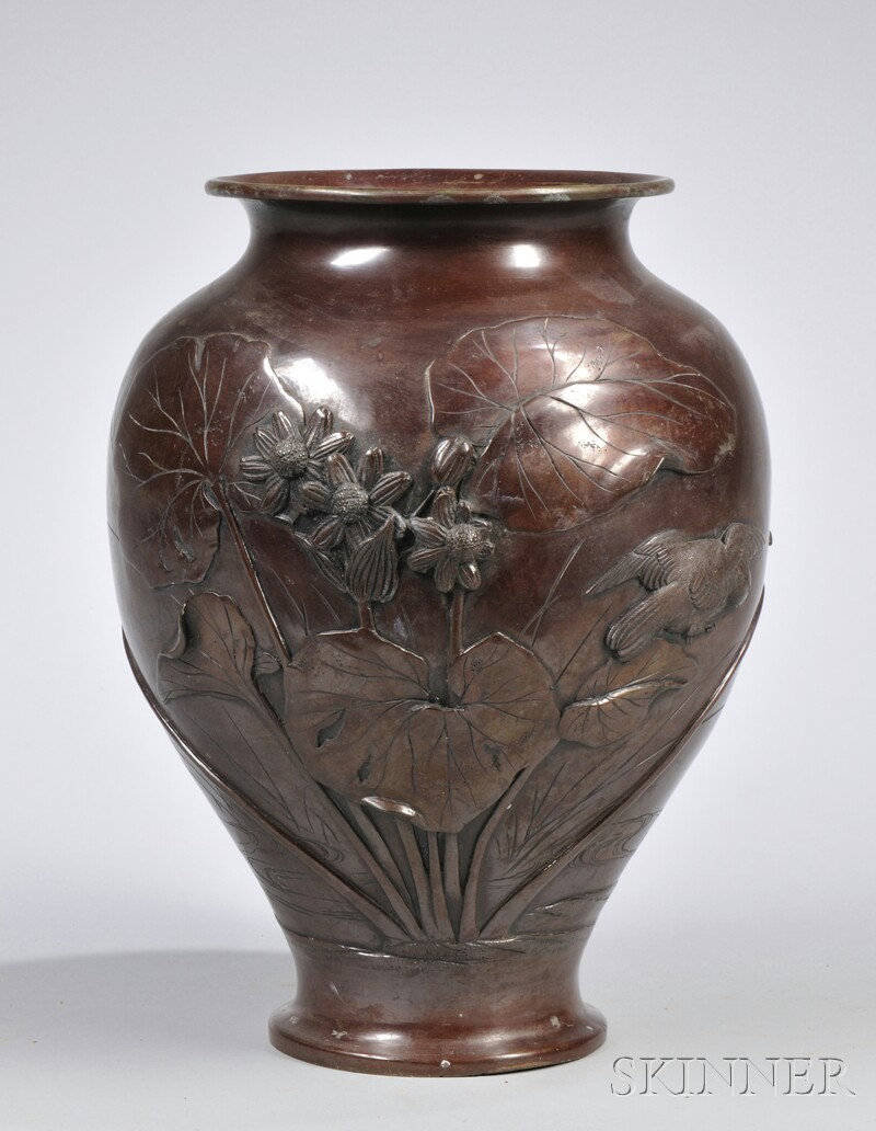 Japanese Patinated Cast Bronze Vase