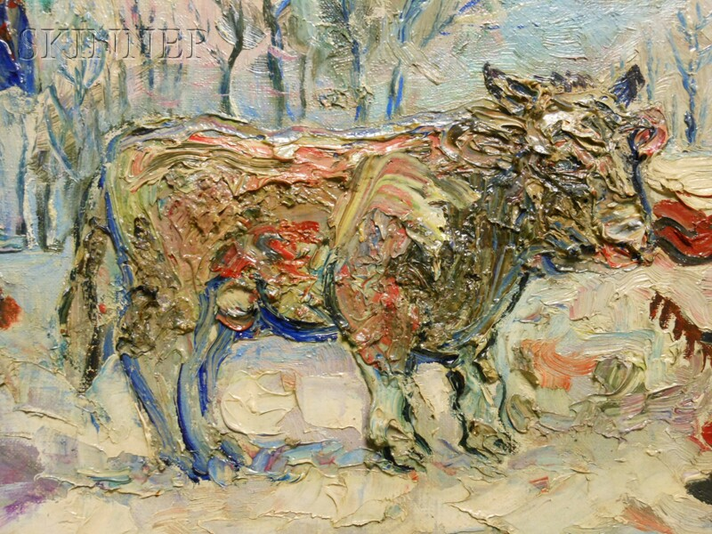 David Davidovich Burliuk (Ukrainian/American, 1882-1967)      Farmer with Cow and Horse