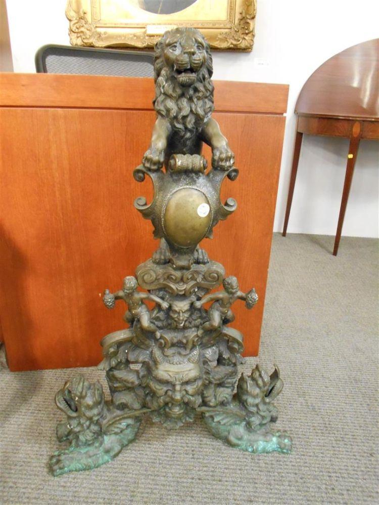 Pair of Renaissance Revival Bronze Andirons