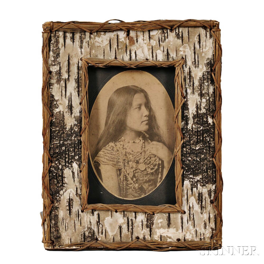 Two Old West Cabinet Cards in Period Birch Bark Frames: Girl Shooter ...