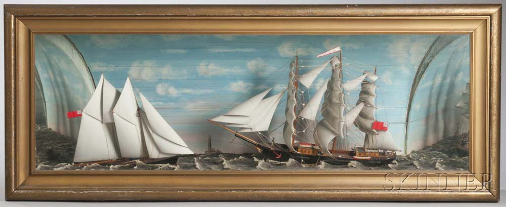 Carved and Painted Shadow Box Diorama of Two Sailing Ships