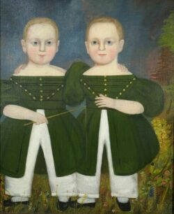 American School,  Early 19th Century  Portrait of the Twins in Green