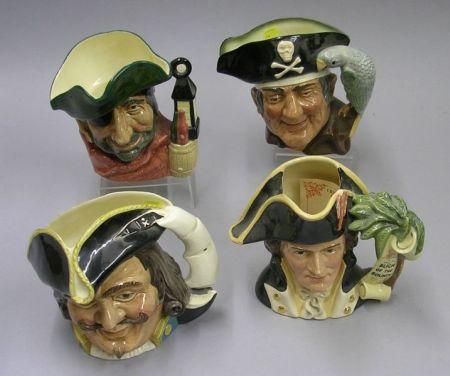 Four Large Royal Doulton Character Jugs