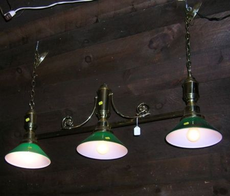 Victorian-style Brass Three-Light Billiard Lamp with Green Cased Glass Shades