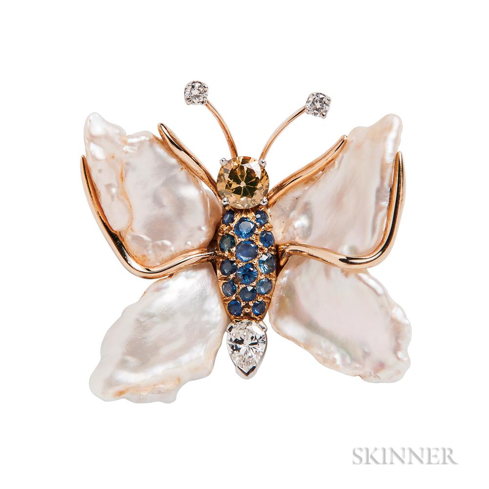 Gem-set Butterfly Brooch, Ruser