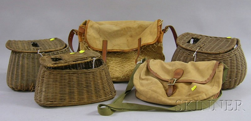 Three Wicker Fishing Creels and Two Vintage Leather-trimmed Canvas Fishing/Hunting Bags.