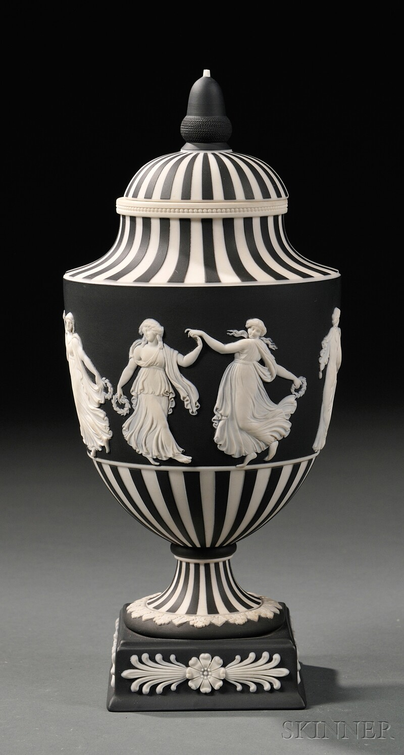 Modern Wedgwood Black Jasper Dip Vase and Cover