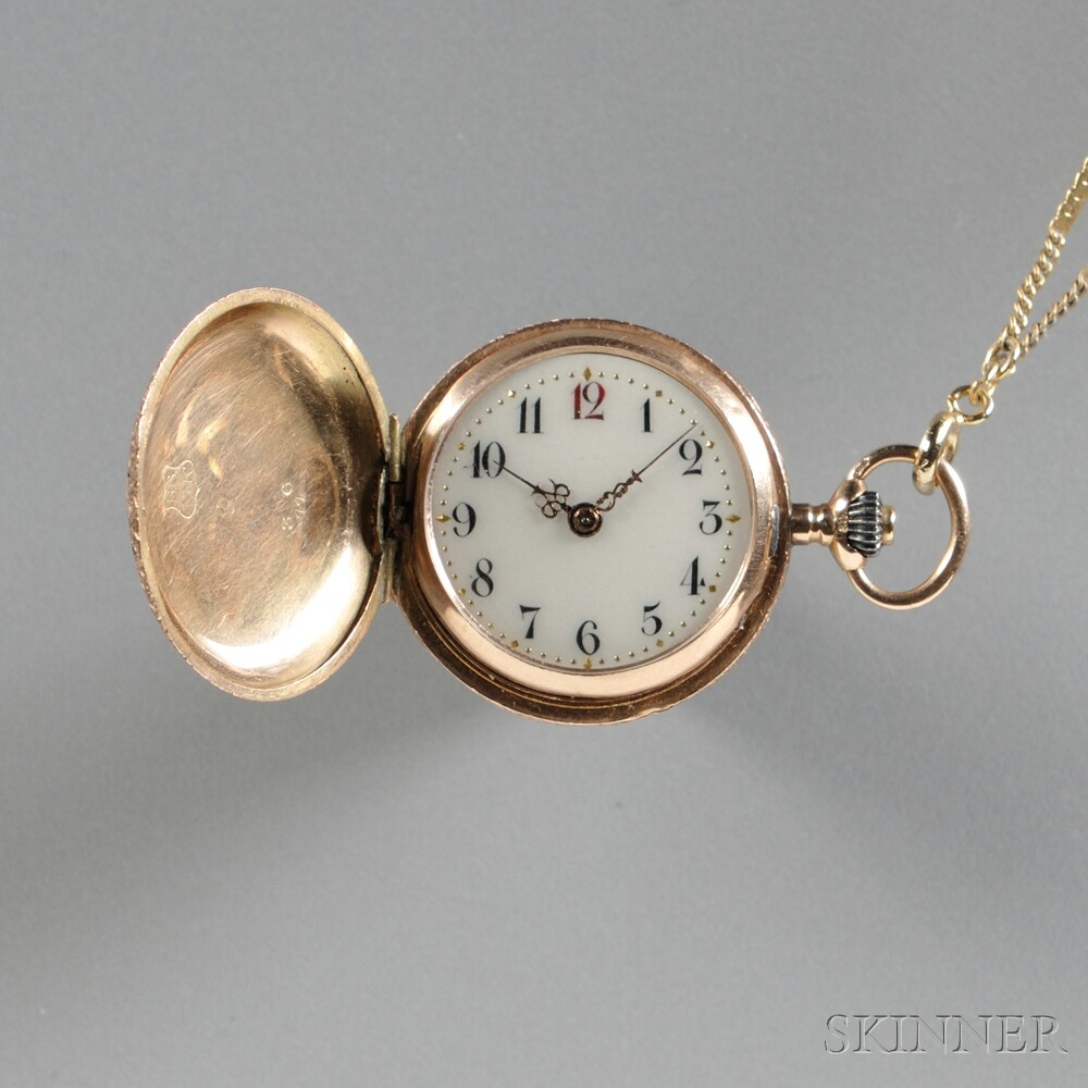 Lady's 14kt Gold Hunting Case Pendant Watch