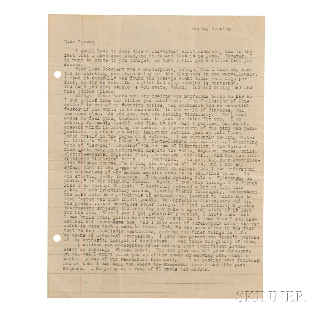 Kerouac, Jack (1922-1969) Typed Letter, with Manuscript Additions, [2 May 1940.]