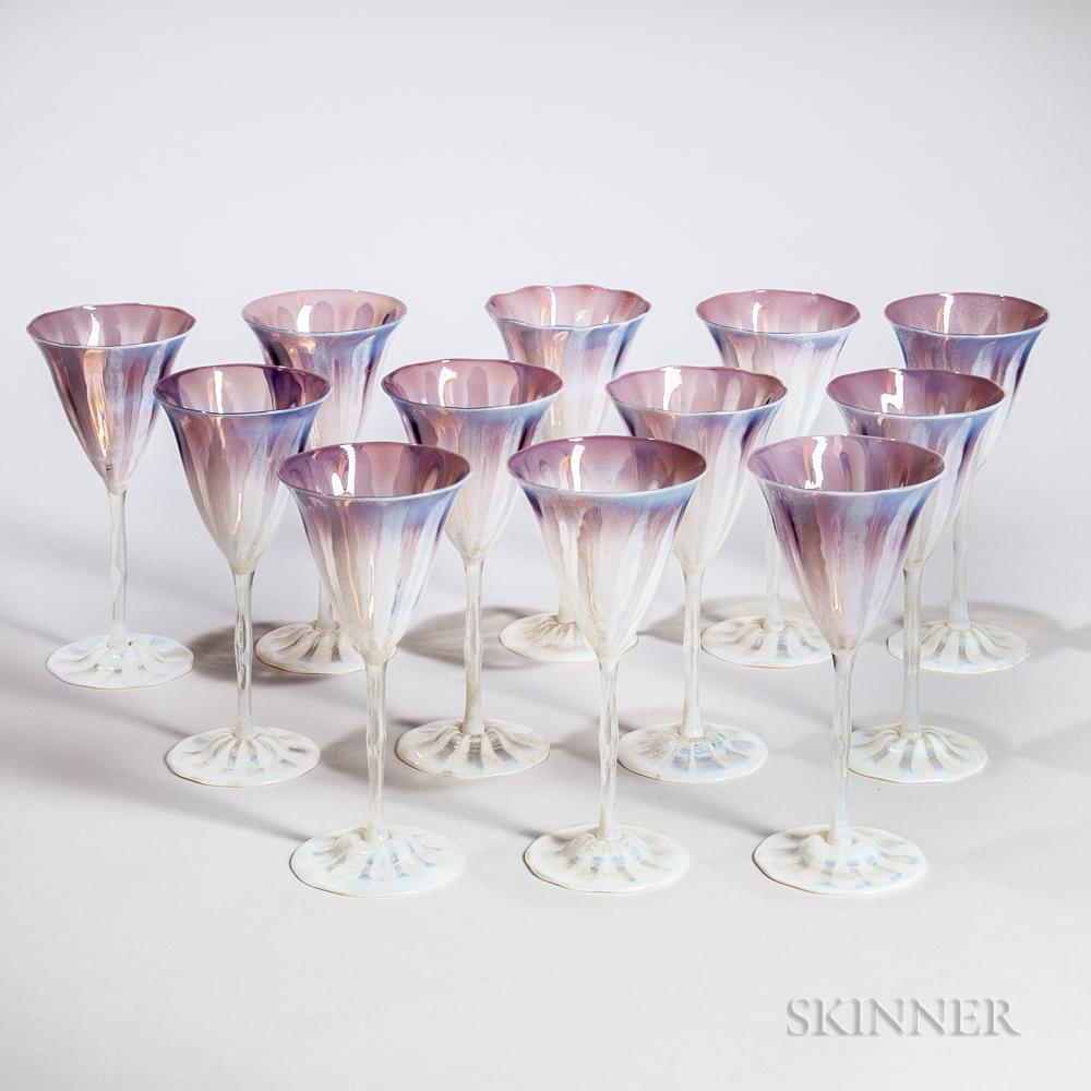 Twelve Tiffany Favrile Wisteria Water Goblets