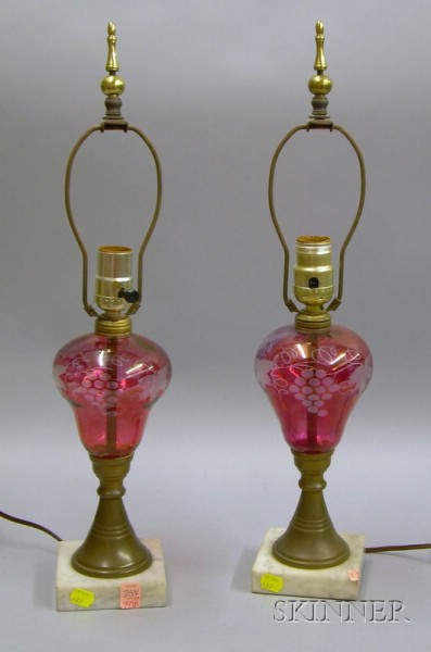 Pair of Etched Cranberry Flash Glass Oil Lamps with Brass and Marble Bases