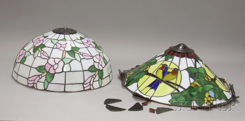 Two Contemporary Leaded Art Glass Lamp Shades