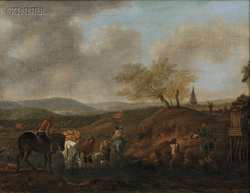 School of Nicolaes Berchem (Dutch, 1620-1683)      Landscape with Peasants and Travelers Fording a Stream