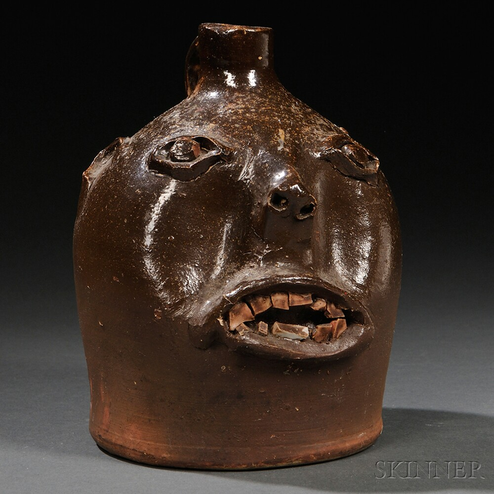 Brown-glazed Stoneware Face Jug