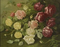 Thomas Sedgwick Steele (American, 1845-1903)  Still Life with Purple, Pink, and Yellow Roses