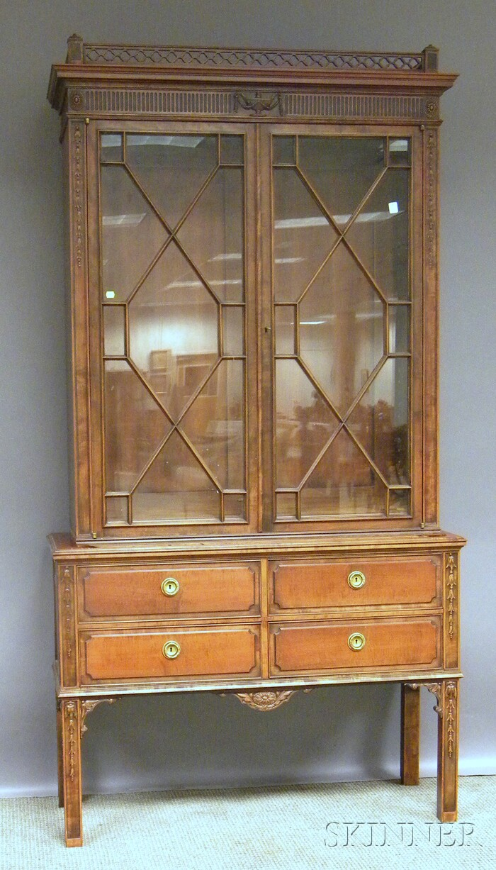 Regency-style Glazed Carved Maple Book Cabinet