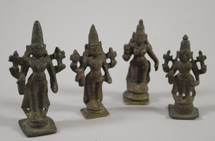 Two Indian Brass Vajras and Four Bronze Deity Figures