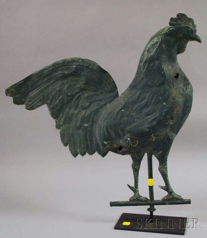 Green-painted Molded Copper Full-body Rooster Weather Vane