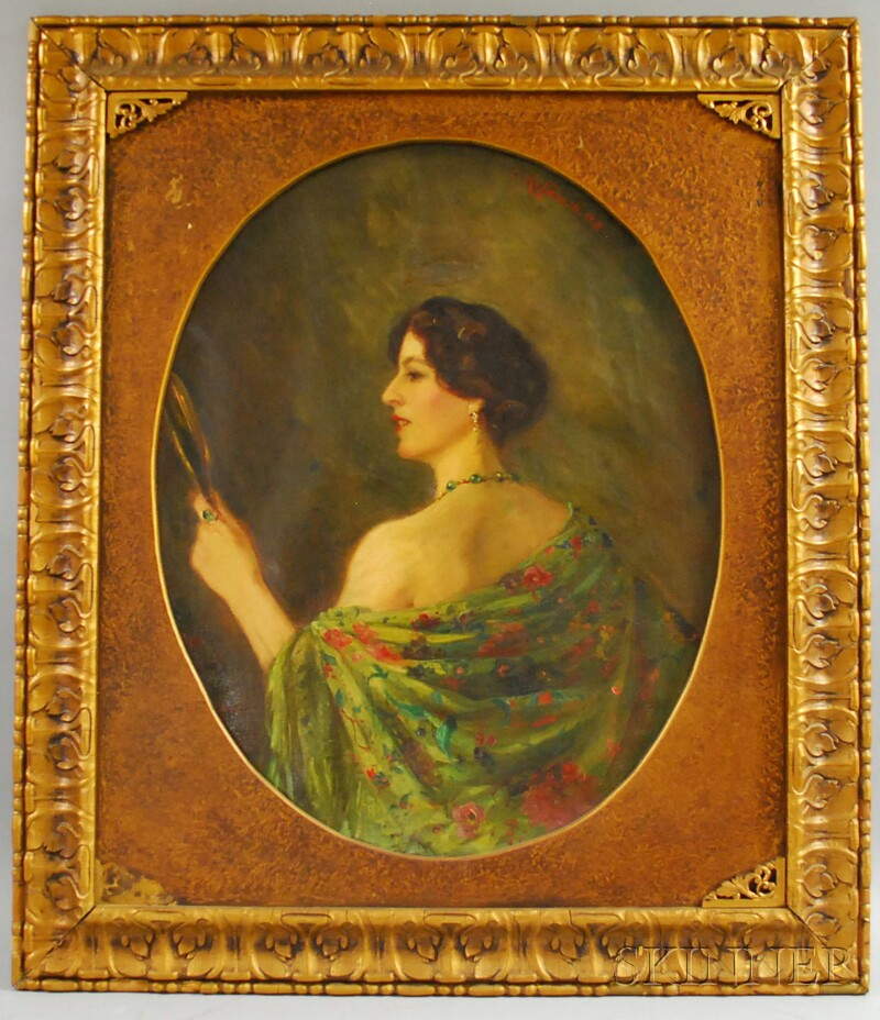 Camille Kufferath (Possibly French, 19th/20th Century)      Portrait of a Woman Holding a Mirror