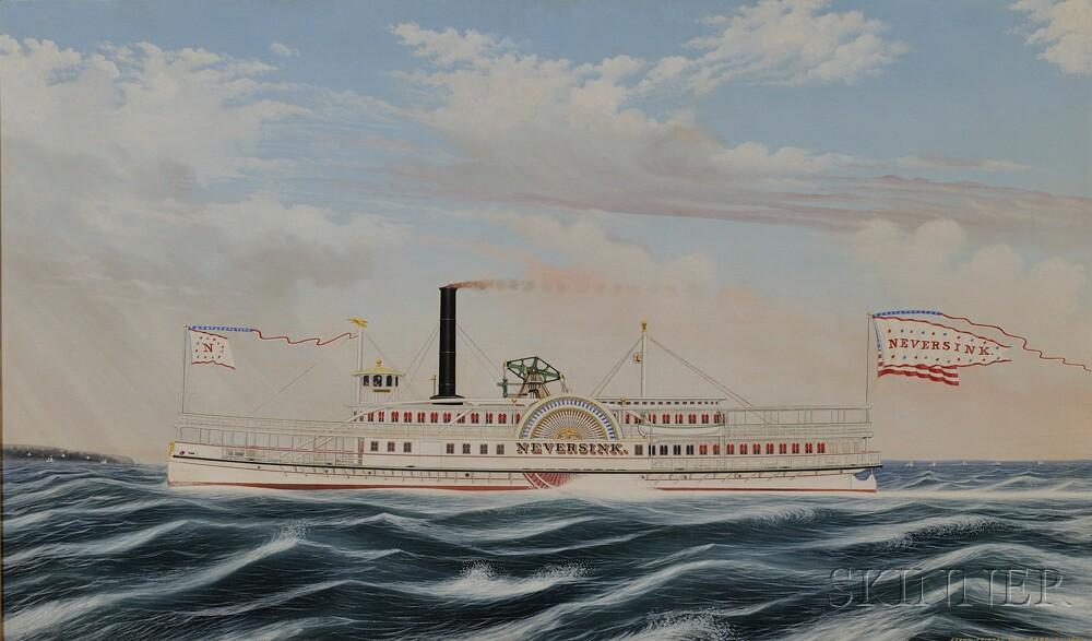 James Bard (American, 1815-1897)      Portrait of the Sidewheeler Steamboat NEVERSINK  .