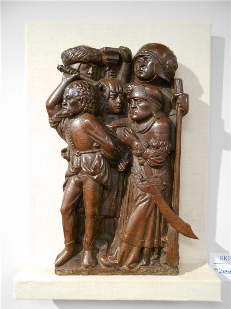 Oak Relief Carving of Soldiers